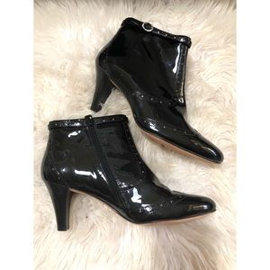 Cole Hann shiny heeled patent leather booties
